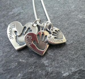 Triple Hand or Footprint Charm Pendant